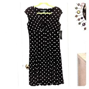 Ralph Lauren dress. Black with cream polka dots.